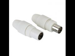 HAMA Coax Plug and Coax Socket, set, can be clamped - (122474)