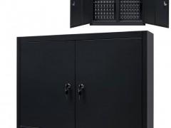 vidaXL Ντουλάπι Εργαλείων Επιτοίχιο Μαύρο 80 x 19 x 60 εκ. Μεταλλικό