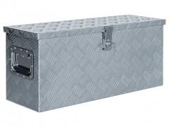 vidaXL Κουτί Αποθήκευσης Ασημί 76,5 x 26,5 x 33 εκ. Αλουμινίου