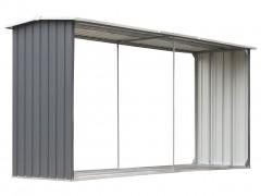 vidaXL Υπόστεγο Αποθήκευσης Ξύλων Κήπου Γκρι 330x92x153 εκ. Ατσάλι