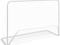 vidaXL Τέρμα Ποδοσφαίρου Λευκό 182 x 61 x 122 εκ. Ατσάλινο + Δίχτυ