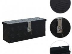 vidaXL Κουτί Αποθήκευσης Μαύρο 485 x 140 x 200 χιλ. Αλουμινίου