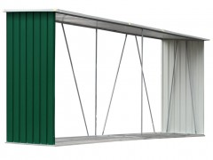 vidaXL Υπόστεγο Αποθήκευσης Ξύλων Κήπου Πράσινο 330x84x152 εκ. Ατσάλι