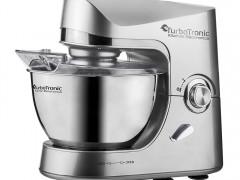 Turbotronic Κουζινομηχανή μίξερ ζαχαροπλαστικής 1500 Watt με κάδο 4,5 λίτρα ανοξείδωτο μπολ και 3 εξαρτήματα Υψηλής Ποιότητας, TT-002 Ασημί - TurboTronic
