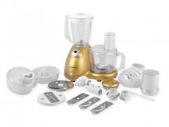 Επεξεργαστής Τροφίμων Κουζινομηχανή Πολυμάγειρας 700W με Αποχυμωτή, Μίξερ, Μύλο Άλεσης Καφέ και Ξηρών Καρπών με Ταχύτητα Turbo σε Χρυσό χρώμα, Model home MO-0049G - Model Home