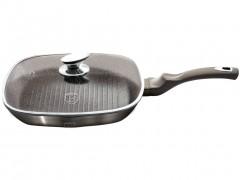 Berlinger Haus Τηγάνι Γκριλ (Grill) 28 cm με Τριπλή Μαρμάρινη επίστρωση Πάτο Turbo Induction και γυάλινο καπάκι, Carbon Metallic Line BH-1614N - Berlinger Haus