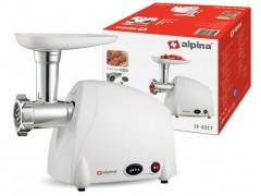 Alpina Switzerland Κουζινομηχανή Κρεατομηχανή Μηχανή κοπής κιμά 300 Watt με 3 Δίσκους κοπής από Ανοξείδωτο Ατσάλι, λειτουργία Εμπρός Πίσω και Ακροφύσιο για Λουκάνικα και Κεμπάπ σε λευκό χρώμα, SF-4017 - Alpina Switzerland