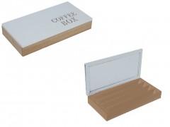 Ξύλινο Κουτί Αποθηκευσης για Κάψουλες Καφέ Espresso 34.5x18x5.5cm με Λευκό καπάκι 4 σειρές υποδοχών και Καφέ γράμματα, 99650 - Cb