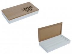Ξύλινο Κουτί Αποθηκευσης για Κάψουλες Καφέ Espresso 34.5x18x5.5cm με Καφέ Καπάκι 4 σειρές υποδοχών και Καφέ γράμματα, 99650 - Cb