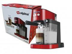 Alpina Switzerland Καφετιέρα Μηχανή Espresso 1470 Watt με Δεξαμενή και Μεταλλικό Ακροφύσιο ατμού για τη δημιουργία Αφρόγαλου σε κόκκινο - μαύρο, SF-2822 - Alpina Switzerland