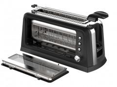 Τοστιέρα Φρυγανιέρα 900W 2 θέσεων και Λαβές για τις έτοιμες Φέτες Ψωμιού, Turbotronic TT-WT900 Window Toaster Breakfast Line Μαύρο/Ασημί - TurboTronic