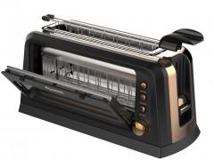 Τοστιέρα Φρυγανιέρα 900W 2 θέσεων και Λαβές για τις έτοιμες Φέτες Ψωμιού, Turbotronic TT-WT900 Window Toaster Breakfast Line Μαύρο/Χρυσό - TurboTronic