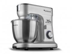 Κουζινομηχανή μίξερ ζαχαροπλαστικής max 1200W με κάδο 6,5 λίτρα, μπολ από Ανοξείδωτο ατσάλι και 3 εξαρτήματα Υψηλής Ποιότητας, 49x43x32cm, Turbotronic TT-015 Ασημί - TurboTronic