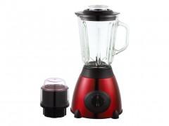 Dekoch Μπλέντερ Μίξερ 500W από Ανοξείδωτο Ατσάλι με Γυάλινο Δοχείο 1.5L και Μύλο για άλεσμα καφέ σε Κόκκινο χρώμα DK-BM150 RED - Dekoch