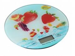Ψηφιακή Γυάλινη Στρογγυλή Ζυγαριά Κουζίνας Ακριβείας Γραμμαρίου, σε 3 Διαφορετικά Σχέδια Φρούτα - Cb