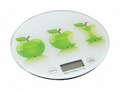 Ψηφιακή Γυάλινη Στρογγυλή Ζυγαριά Κουζίνας Ακριβείας Γραμμαρίου, σε 3 Διαφορετικά Σχέδια Μήλα - Cb