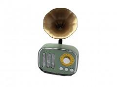 Ραδιόφωνο και Ηχείο Buetooth 4.0 σε σχήμα Retro Γραμμόφωνο με χωνί στο χρώμα της μέντας, διαστάσεις διαστάσεις 20,5x12,5x10,5 εκατοστά - Aria Trade