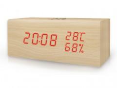 Ψηφιακό Θερμόμετρο/Υγρόμετρο με Ρολόι Life WES-106 Ξύλινο