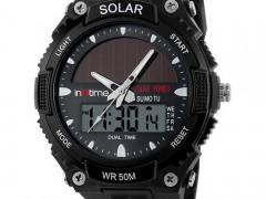 Intime Ρολόι Χειρός Solar-02 Ηλιακό διπλή ώρα El φωτισμός Μαύρο (IT-009)
