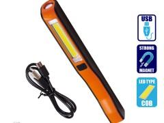 Φορητός Φακός Επαναφορτιζόμενος με Μπαταρίες PEN COB Led & Φορτιστή USB Πορτοκαλί Χρώμα GloboStar 07012