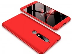 GKK Θήκη Hybrid Full Body 360° Nokia 6.1 / Nokia 6 2018 - Red (45207)
