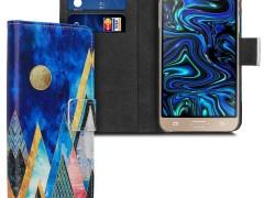 KW Θήκη Πορτοφόλι Samsung Galaxy J3 2016 - Gold / Coral / Dark Blue (38159.13)