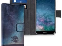 KW Θήκη - Πορτοφόλι Huawei Y5 / Y5 Prime 2018 - PU Leather Protective Flip Cover - Blue / Grey / Black (46487.03)